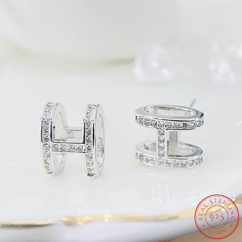 Fashion 925 sliverEarrings Geometry Lettered H Ear Stud Exquisite Elegant CZ Zircon Jewelry Gift Party Banquet WOMEN'S XE078