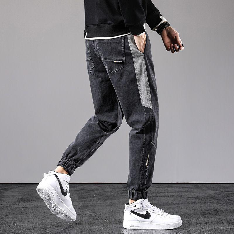 Jeans Brand Fit Brand Harlan 2021 Primavera e Summer Casual Splicing Pantaloni lunghi Pantaloni Losed Leggings Moda uomo
