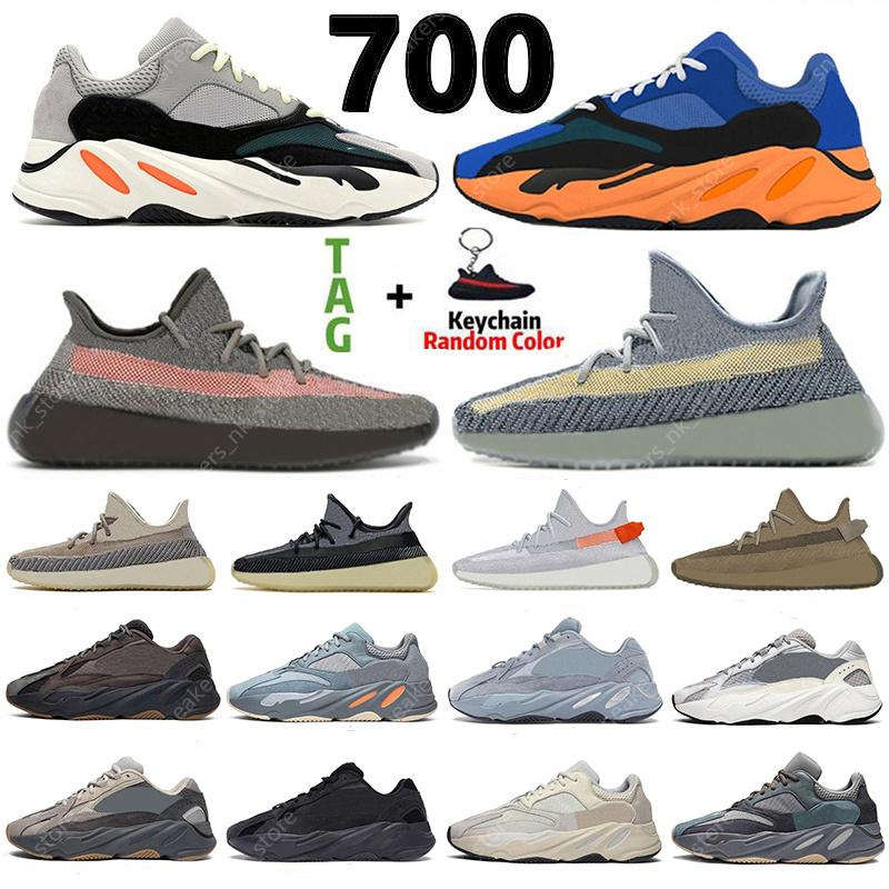 2021 Kanye 700 Cream Bright Blue Casual Shoes Sun Tail Light Static Mauve Inertia Earth GID Synth Zebra Cinder Yecheil Bred Women Sneakers