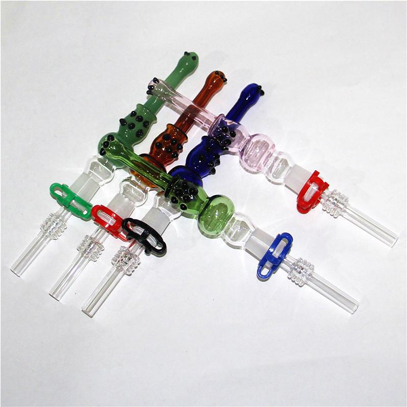 Glass NC Kit with Quartz Tips Dab Straw Oil Rigs Hookahs smoking accessories silicone nectar collectors stainless steel tip