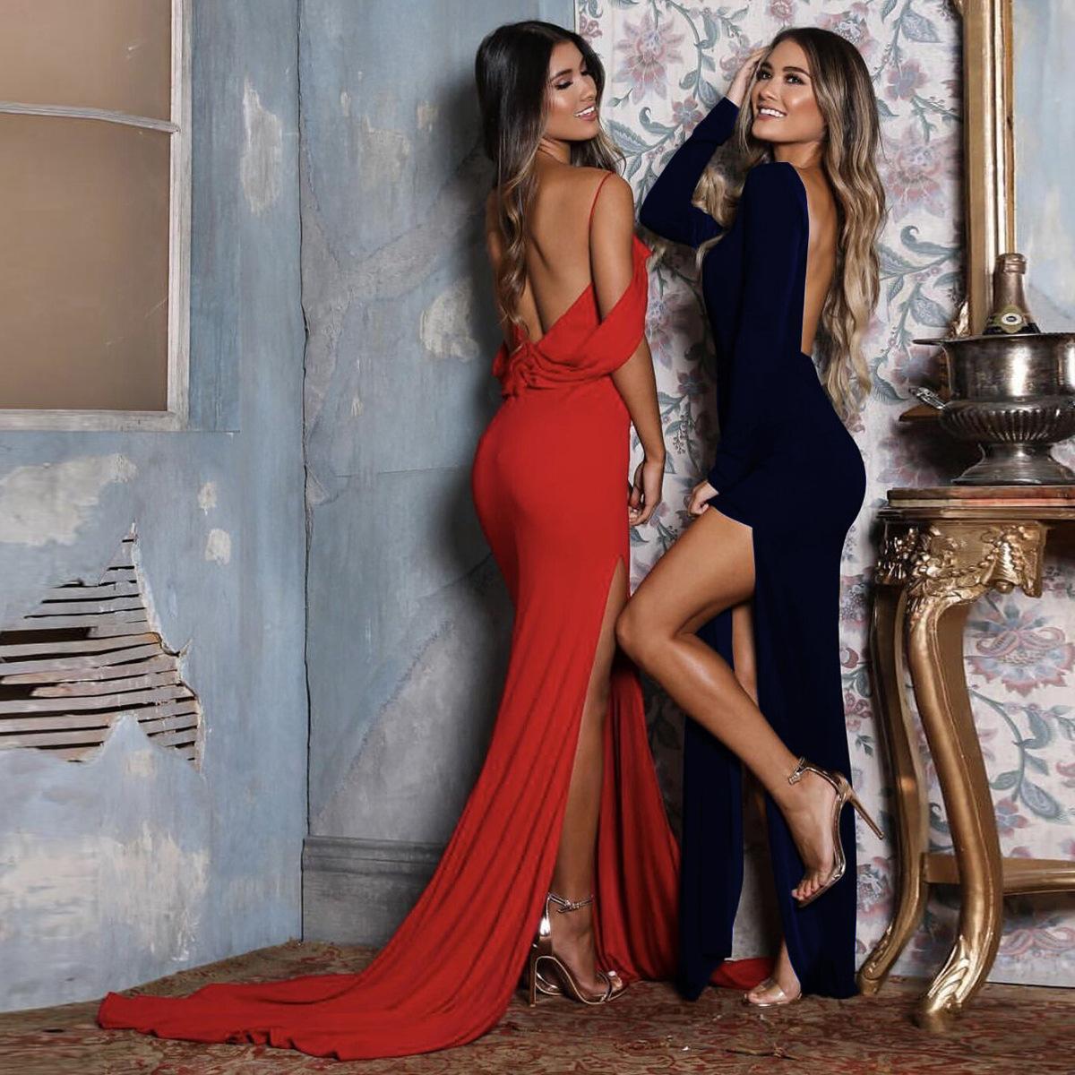 女性の夏のファッションエレガントな鞘の中空アウトタンクトップ背中の背中のマキシドレス長袖ソリッドパーティースプリットドレス