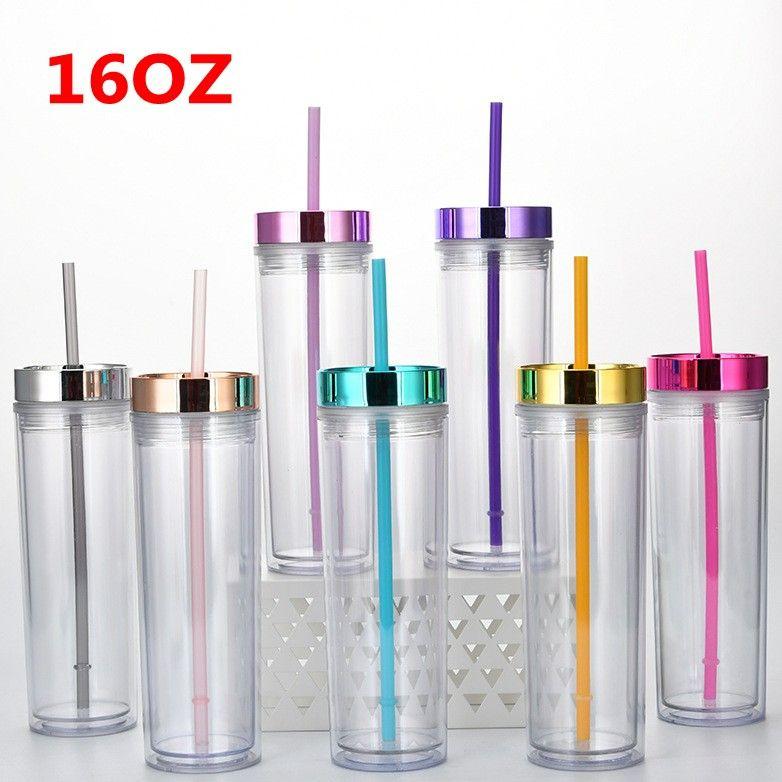 16 أوقية جدار مزدوج سميكة أكواب بهلوان الاكريليك مع غطاء القش الصيف قابلة لإعادة الاستخدام 450ML كؤوس المياه عصير زجاجات زجاجات FY4611