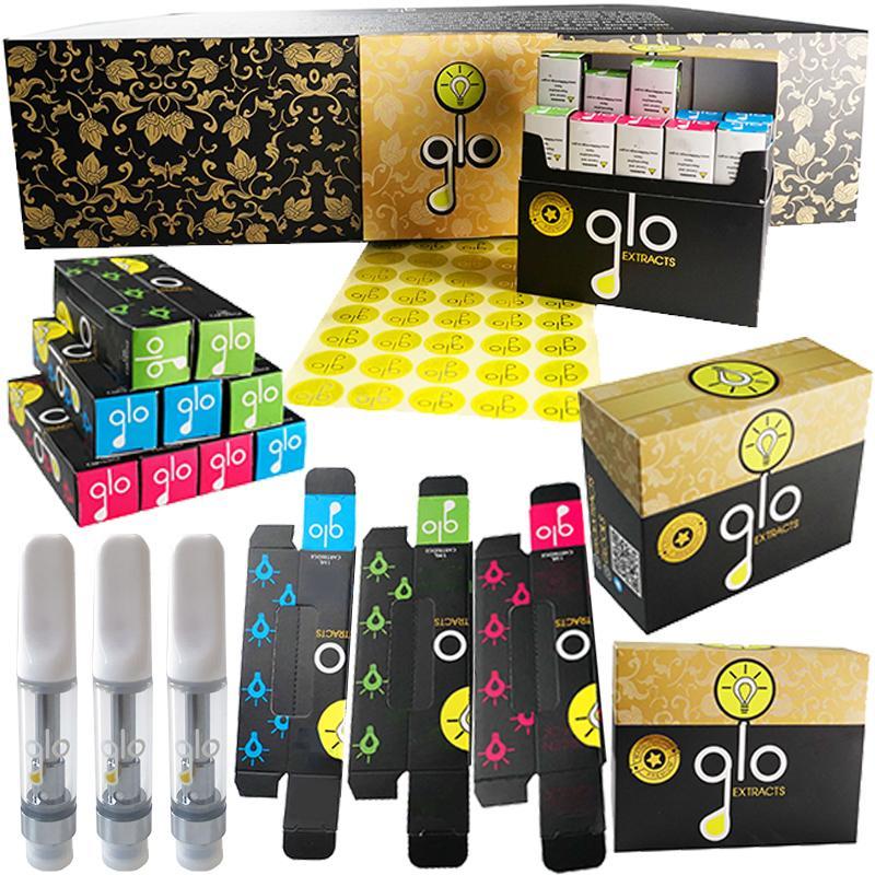 GLO Extraits Vape Cartouches Atomiseurs Dernier emballage 0.8ml Pen de la céramique de céramique avec sécurité QR Code 510 Fil Paniers à huile épais Réservoir Vape Vapes Cartouche E vides