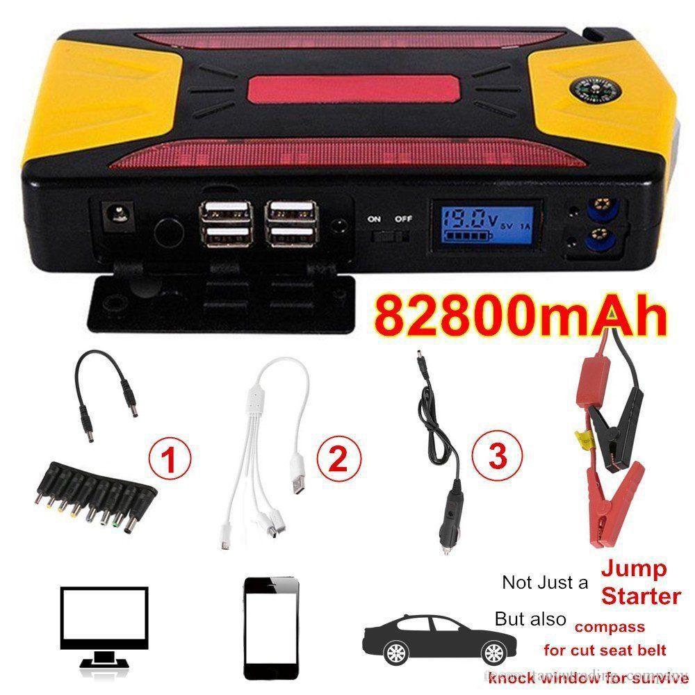 Profissional 82800mAh Pacote de carro Jump Starter Charger Carregador Power Bank Kit 600A