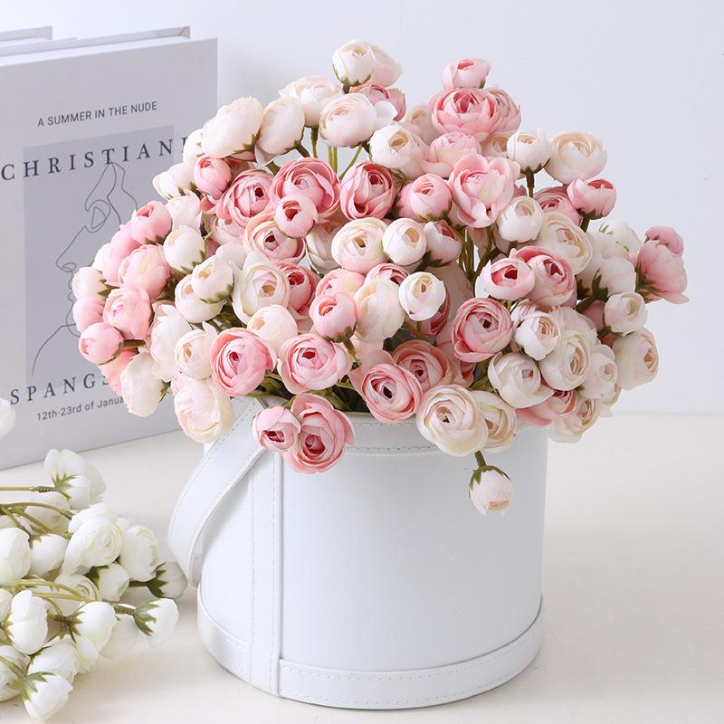 محاكاة الشاي روز بانش الحرير الاصطناعي الزهور للمنزل الديكور الزهور الزفاف العروس عقد باقة زهرة الورود وهمية