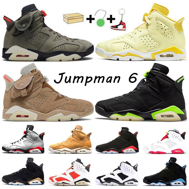 Travis Scott 노란색 jumpman 6 남자 농구 신발 6s 올리브 전기 녹색 카키 하마 꽃 UNC 야외 스포츠 스니커즈 트레이너 7-13