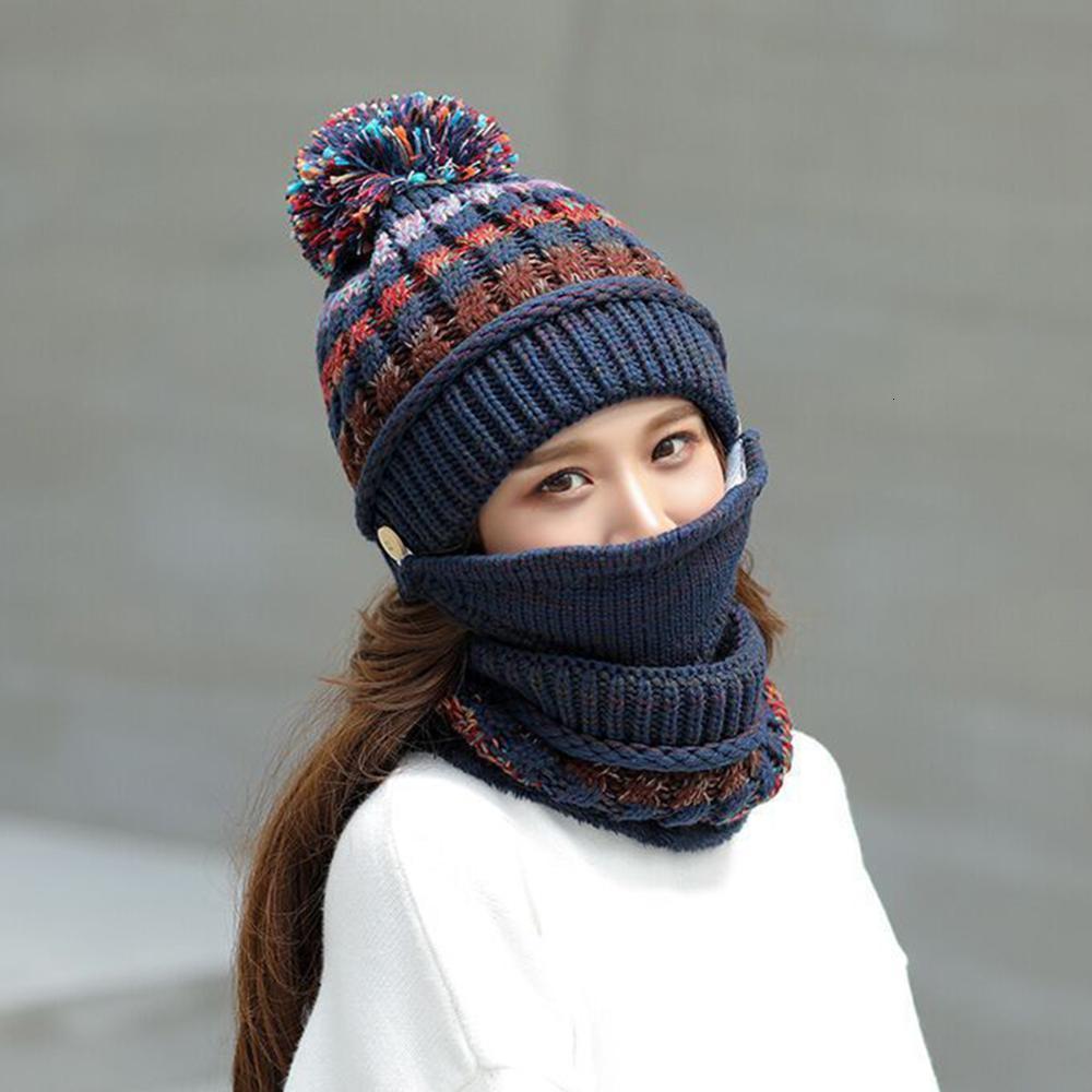 3 stücke Winter Maske Hut Schal Set Verdicken Warme Frauen Mädchen Mützen Pompom Outdoor Radfahren Reiten gestrickte Kappe Schals