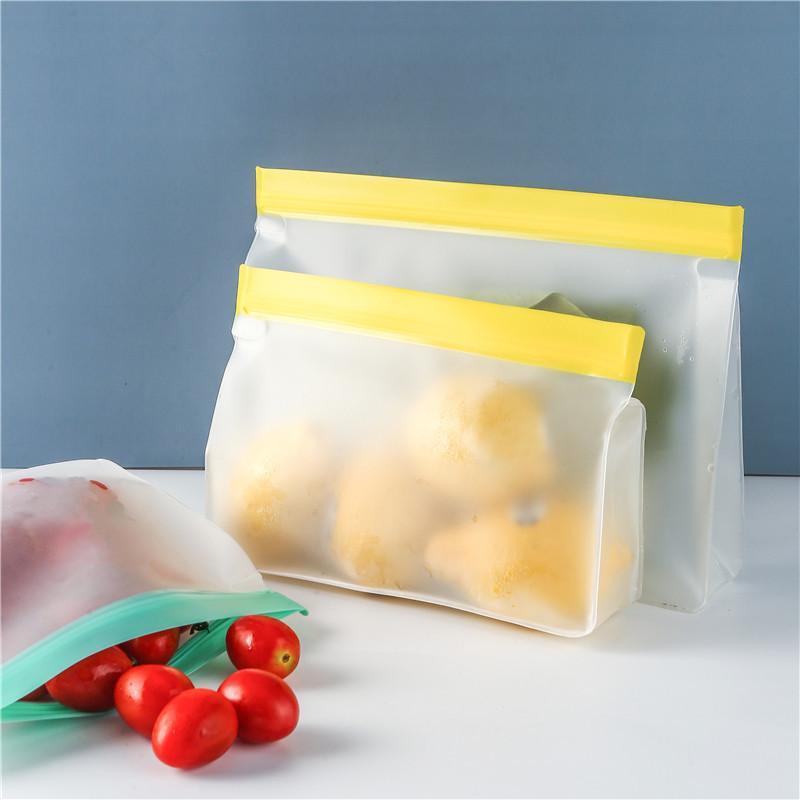 Kitchen Storage Silicone Bag Food PEVA Ziplock Bags For Fruit Vegetable Organization Plastic Reusable Freezer Fresh-keeping Home Organizer