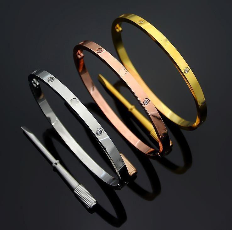 4mm Ince Moda 2021 Bilezik Titanyum Çelik Aşk Bilezikler Gümüş Gül Altın Bilezik Bilezik Kadın Erkek Vida Tornavida Çift Bilezik Takı 16-19 cm