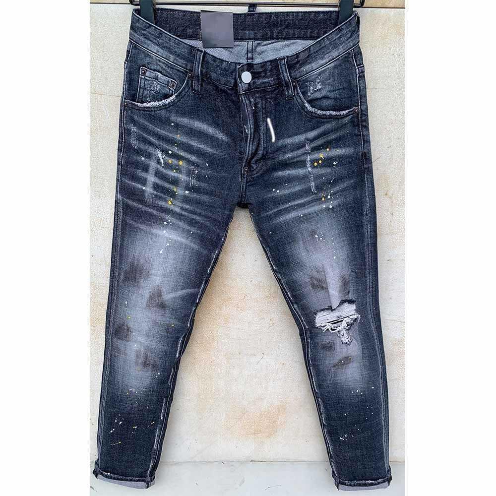 dsquared2 dsq d2 Mens Strappa Stretch Black Jeans Fashion Slim Fit Lavato Motociclo Denim Pantaloni Denim Pannelli Hip Hop Pantaloni HJHJ2