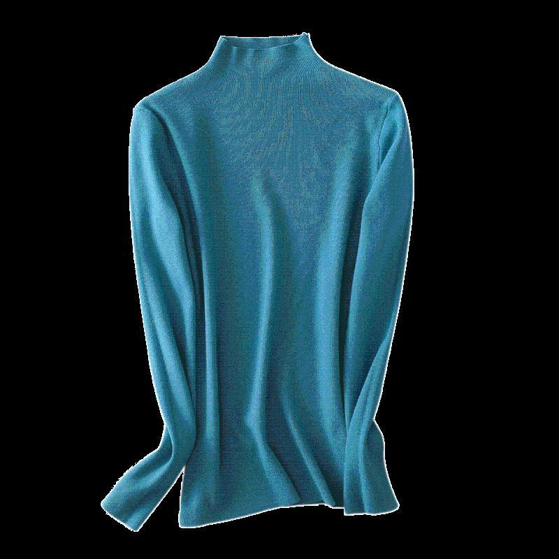 Frauenpullover Frühling und Herbst 2021 High Collar Langarm Strickpullover Pullover warm weich