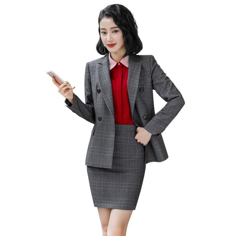 회색 갈색 격자 무늬 여성 우아한 여성 스커트 정장 정장 복장 의상 사무실 착용 블라우스와 재킷 세트 2 피스 작업 드레스 세트