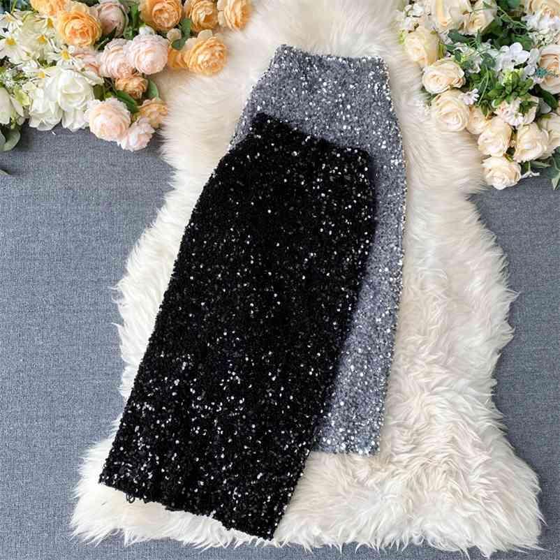 FTLZZZ Frauen Pailletten Bleistiftröcke Koreanische elegante Mittellang Bodycon Jupe Frühling Sexy Femme Trend Hohe Taille Slim SHinny Rock 210412