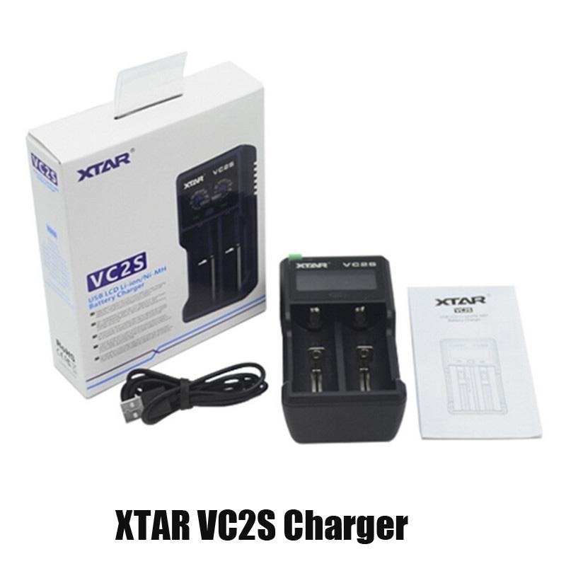 Autentico caricabatterie XTAR VC2S Caricabatteria Inteligent Mod Dual Slot con display LCD per 18350 18550 18650 16650 Batterie Li-ioni Li-ioni Carica USB 100% Genuine