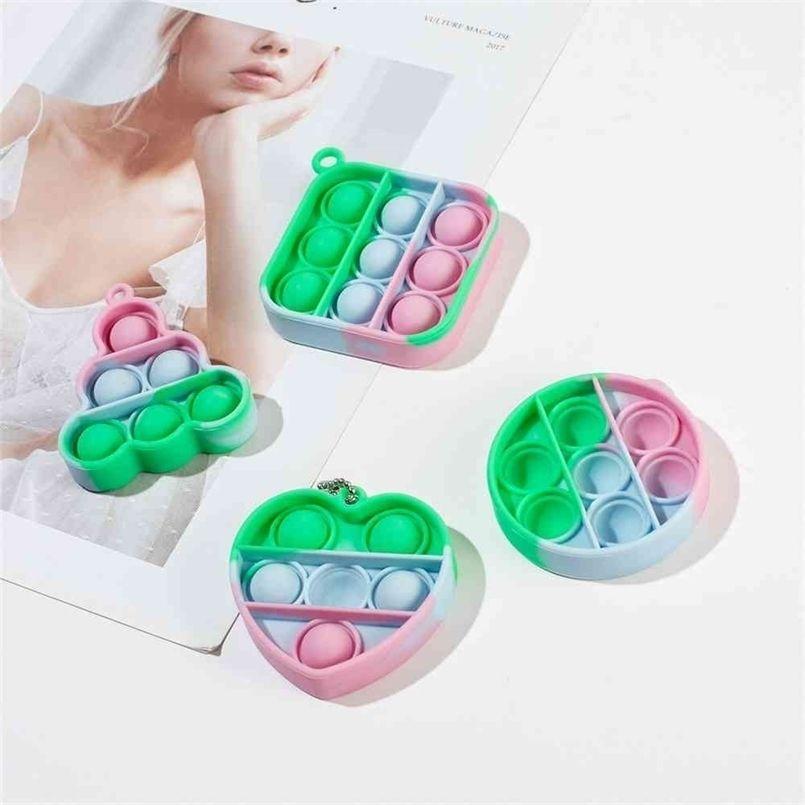 Push Bubble Rainbow Pop Fidget Toy Poo su llavero SimpleTiktok Decompresión Juguete Sensor Sensor Poppers Anti Tablero Tablero Niños Adultos Juguetes H41SOJJ