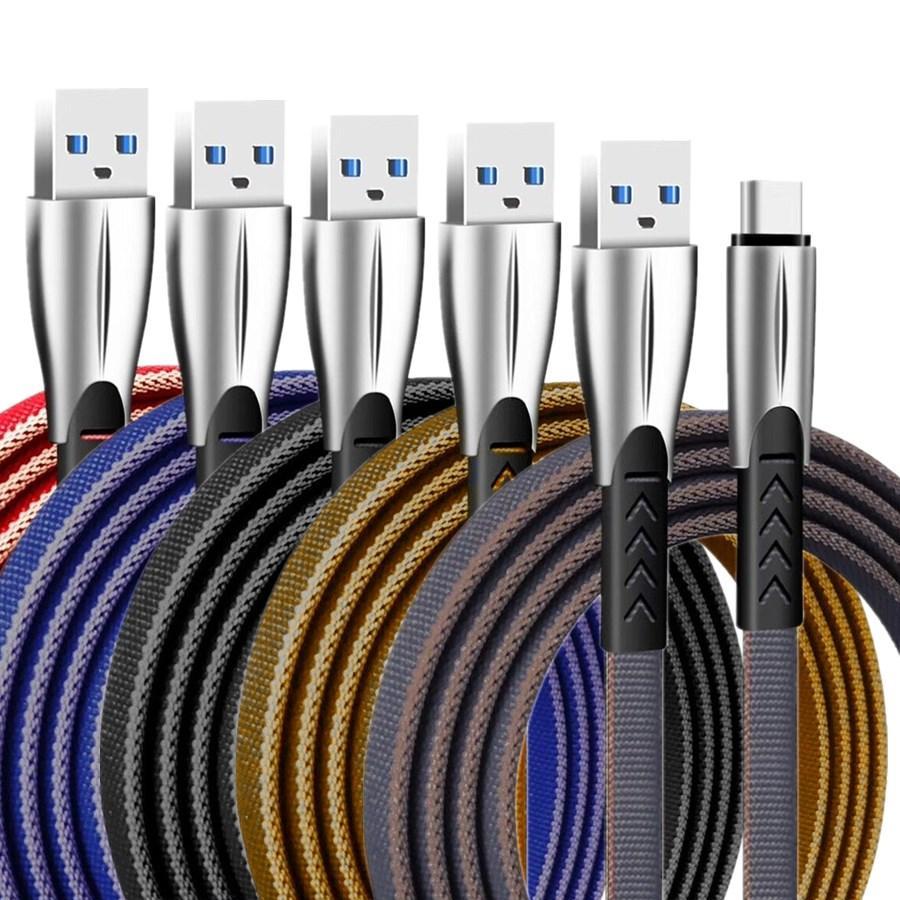 1M 2M 3M 3M 30cm 2A Tissu plat de zinc Type C micro USB C Fil de câble pour Samsung Galaxy S8 S9 S20 Huawei P30 HTC Android Téléphone PC MP3