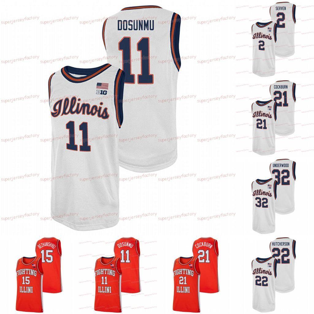 2021 Illinois Basketbol Jersey Mücadele Illini NCAA Koleji Basketbol Formaları Ayo Dosunmu Kofi Cockburn Trent Frazier Da'Monte Williams Miller Curbelo Feliz
