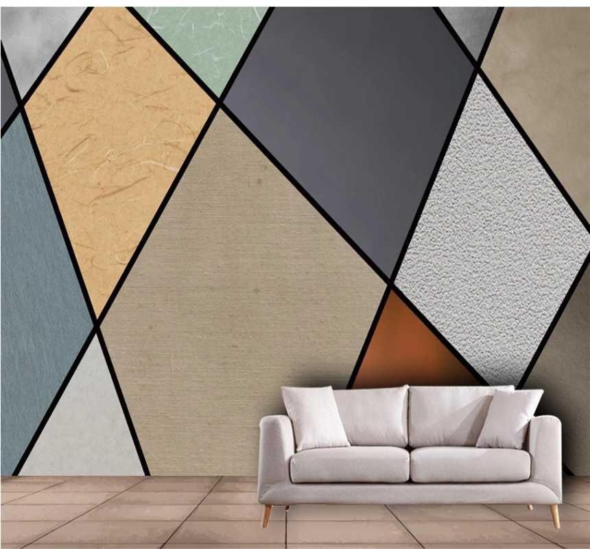 Modern minimalist soyut geometrik çizgi renk bloğu arka plan duvar özel duvar kağıdı 3D / 5D / 8D duvar duvar kağıtları