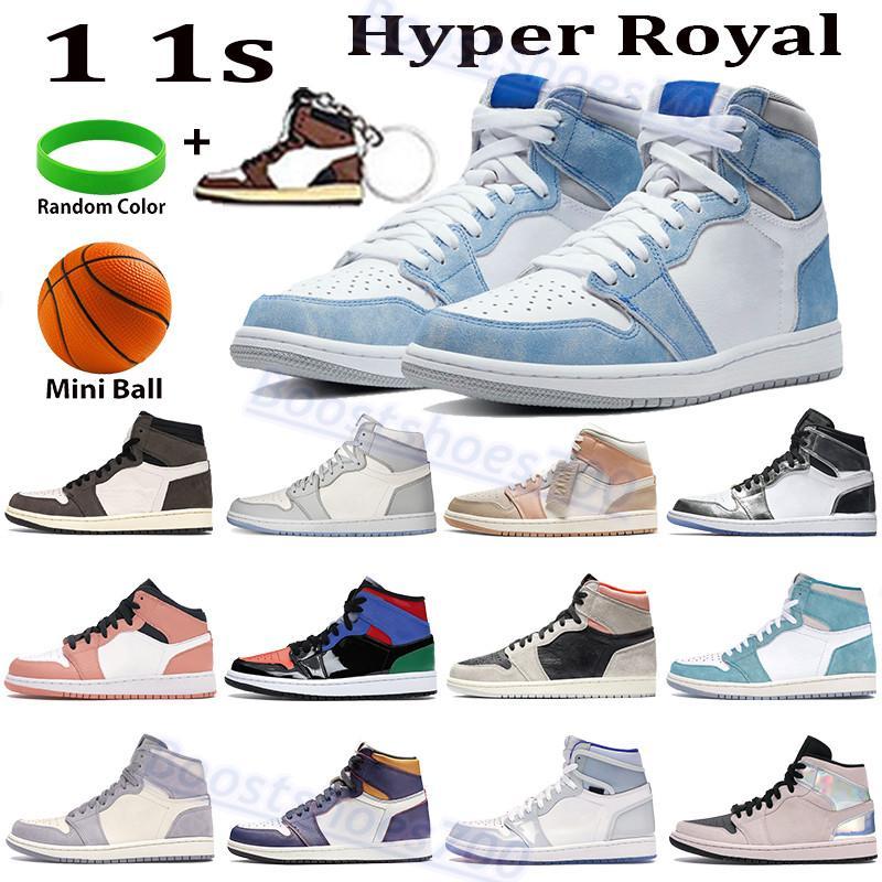 عالية أعلى 1 ثانية أحذية كرة السلة فرط الملكي ترافيس سكوتس الذئب رمادي الشراع منتصف ميلانين يعتقد 16 معدني فضة توربو الأخضر الرجال النساء أحذية رياضية