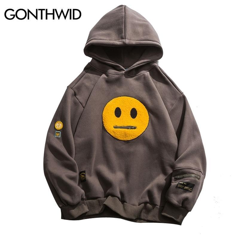 Gonthwid fermeture à glissière de poche sourire visage patchwork tweece hoodies sweatshirts streetwear homme hip hop hip hop pippotage à capuche mâle tops 210728