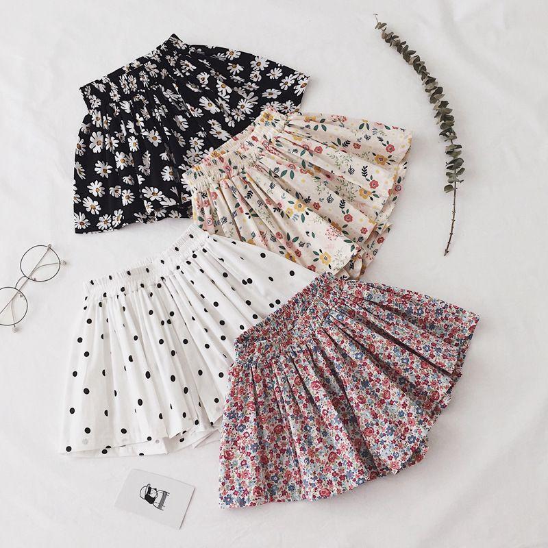 INS Fashions Kids Girls Floral Shorts Summer Elastic Above knee Skirts Polka Dot Pants