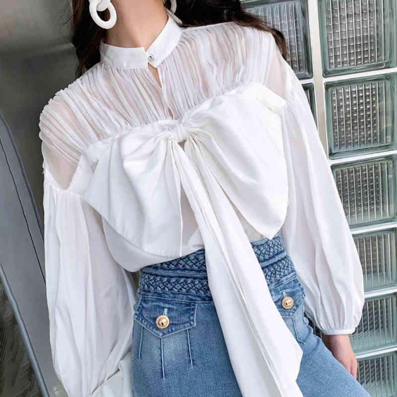 VGH Vintage White Shirt For Women Stand Collar Lantern Sleeve Lace Up Bowknot Ruched Solid Blouse Female Fashion New Clothing 210421