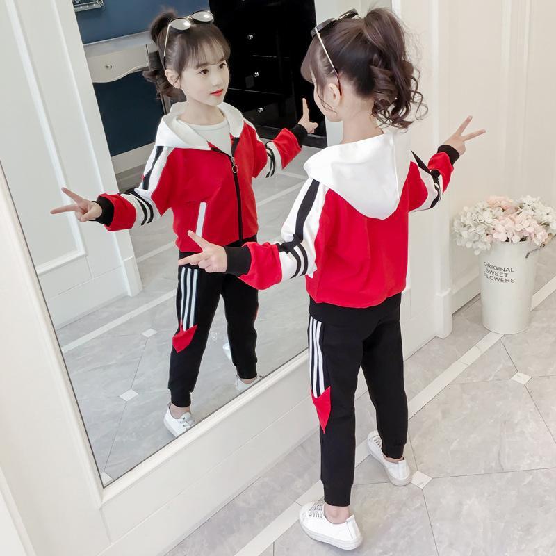 Vêtements à capuche à tondes à rayures actifs Set Teen Tracksuit printemps automne manches longues 2pcs enfants costumes Little Girl Sets3-12t ans x0401