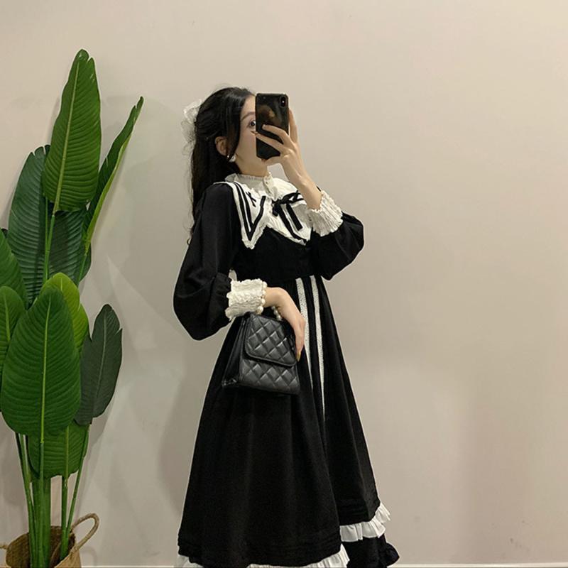 Casual Dresses Korea Herbst Schwarz Vintage Kleid Frauen Französisch Elegante Gotische Lolita Weibliche Spitze Langarm Stand Abendparty
