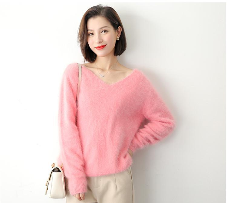 Suéteres das Mulheres Adorável-Jinnuo 2021 Moda Mulheres Mink Cashmere Camisola Pullover 100% Fluffy Soft Winter Winter Jn630