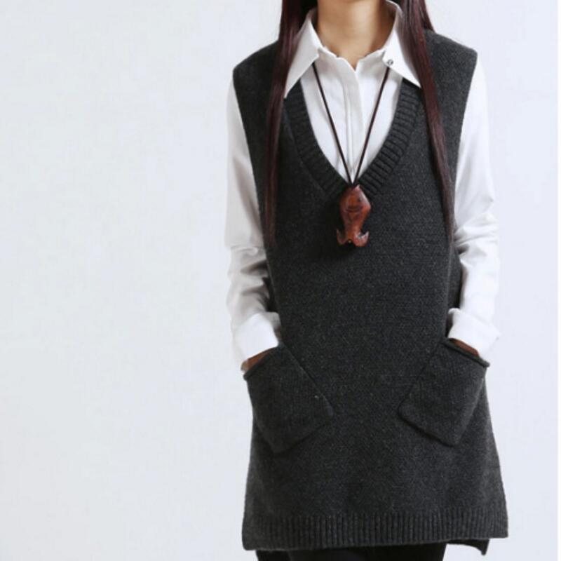 Frauenpullover Zity 2021 Frauen Pullover Frühling Herbst Koreaner V-Freundck Strick Lange A-Shaped Taschenweste Pullover Sleeveless