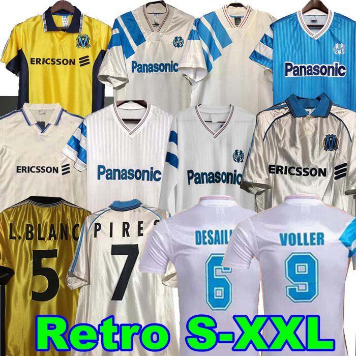 90 91 93 98 99 Olympique Marseille Ретро памятная рубашка Decchamps Papin Boli Consiailly Soccer Jersey Voller Marseille Футбольные пиры