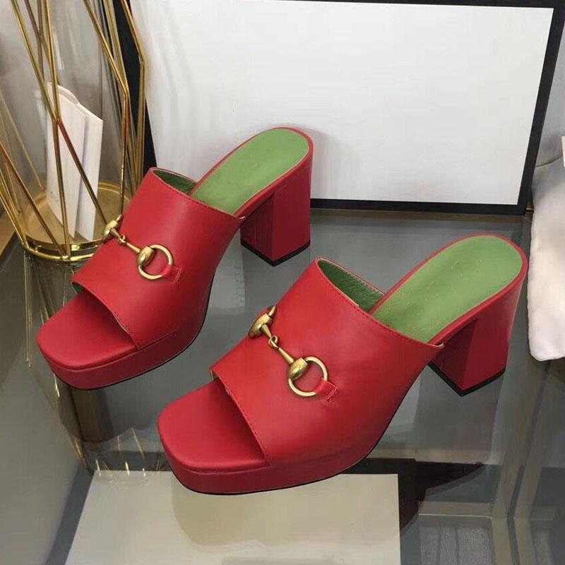 Slipper Designer Hermosa plataforma Tacones Altos Sandalias Mujeres Moda Verano Ocio Cómodo Cuero Oficina Oficina Zapatos Romano Grueso Tacón