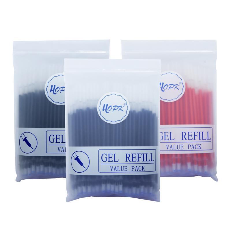 100pcs/lot Office Gel Set 0.5mm/0.38mm Blue Black Red Ink Rod Bullet/needle Tip Pen Refill School Writing Stationery