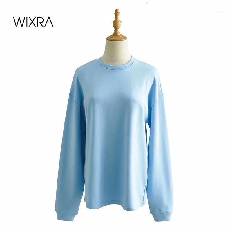 WixRA Womens Basic O cou Sweatshirts 100% coton à manches longues Summer Summer Nouveau pull-pull occasionnel Tops1