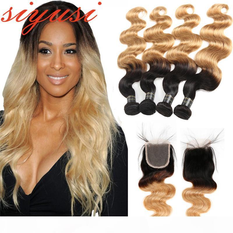 3 4 paquets 1B 27 Blonde Brésilien Body Wave Cheveux Vierge avec fermeture Ombre Cheveux humains 4x4 Fermeture en dentelle avec des bonds de cheveux