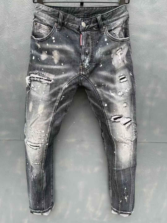 الرجال المصمم جينز هول سستة عالية الجودة الرجال الجينز دراجة نارية السائق الرجال السراويل أسود الحجم 44-54