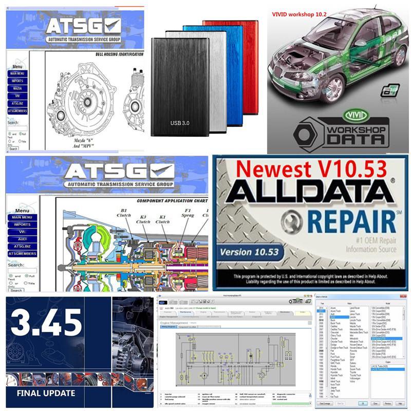 Melhor Qualidade Reparação Automática AllData 10.53 e MIT 2015 ect 24 + Vivid + ATSG em 1TB HDD Data Work