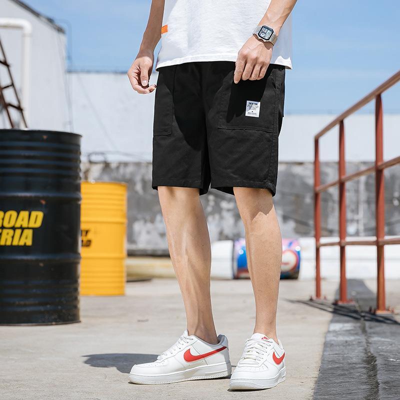 Männer Shorts Männer Shorts Multi Pocket Tether Sommer Mid Taille Feste Farbe Beiläufige Lose Gürtel Jugend Sport Hosen