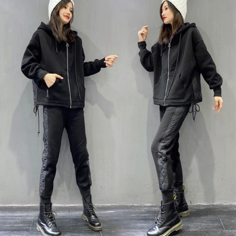 Tileewon inverno senhoras adicionar lã conjunto adicionar casaco de lã com calça quente dois pedaço conjunto
