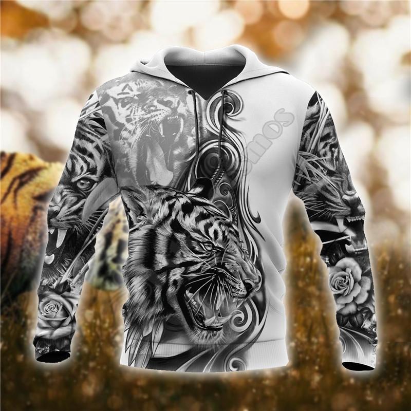 Sweats à capuche pour hommes Sweatshirts The Great Tiger Tattoo 3D Sweat-shirt imprimé Fête de fermeture à glissière pour hommes Pull Cosplay Costumes