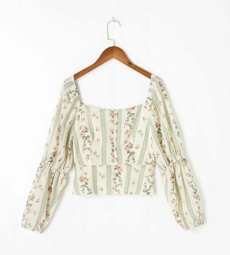 المرأة تي شيرت الرجعية مزاج مربع طوق فانوس كم مخطط الأزهار قصيرة أعلى طباعة زر أنيقة طويلة الأكمام أزياء سيدة