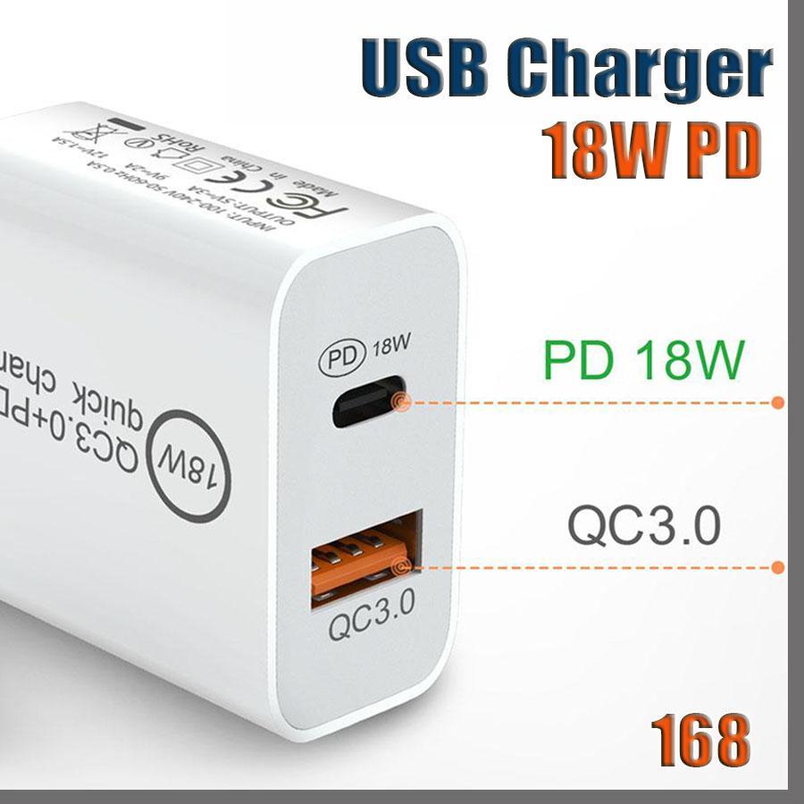 168D 18 W Rápido Carregador USB PD Adaptador de Carga Rápida Tipo C Plug Cobrando para Samsung Nota 7 8 9 10 x Android Smart Phones sem caixa