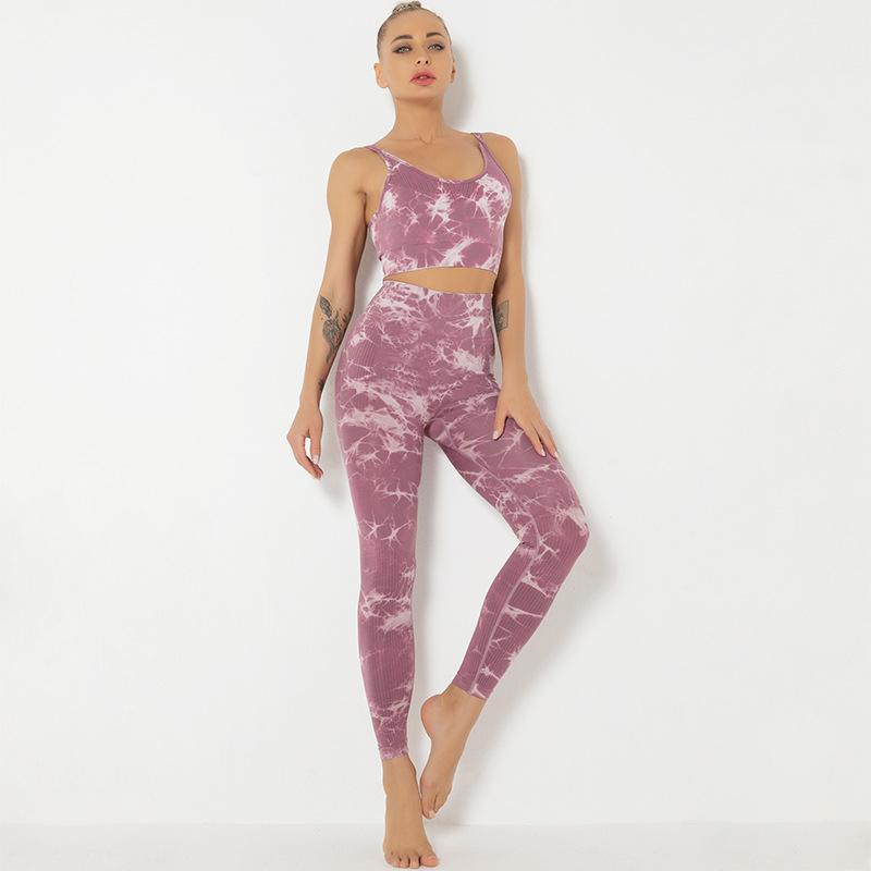 YOGA OUTFIT WORPRO Two Piece Sport Set Femmes Tie Type d'entraînement imprimé Push Up Leggings Support Moyen Soutien-gorge Vêtements de gym