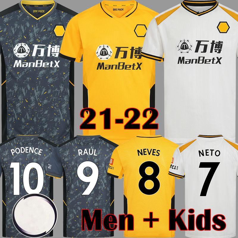 2021 2022 Raul Neves Wolves Futebol Jerseys Podência Adama Adulto Kids Equipment 21 22 Camisas de Futebol Wolverhampton Doherty Homens 3Rd Kits Brancos Maillots de Pé 1234