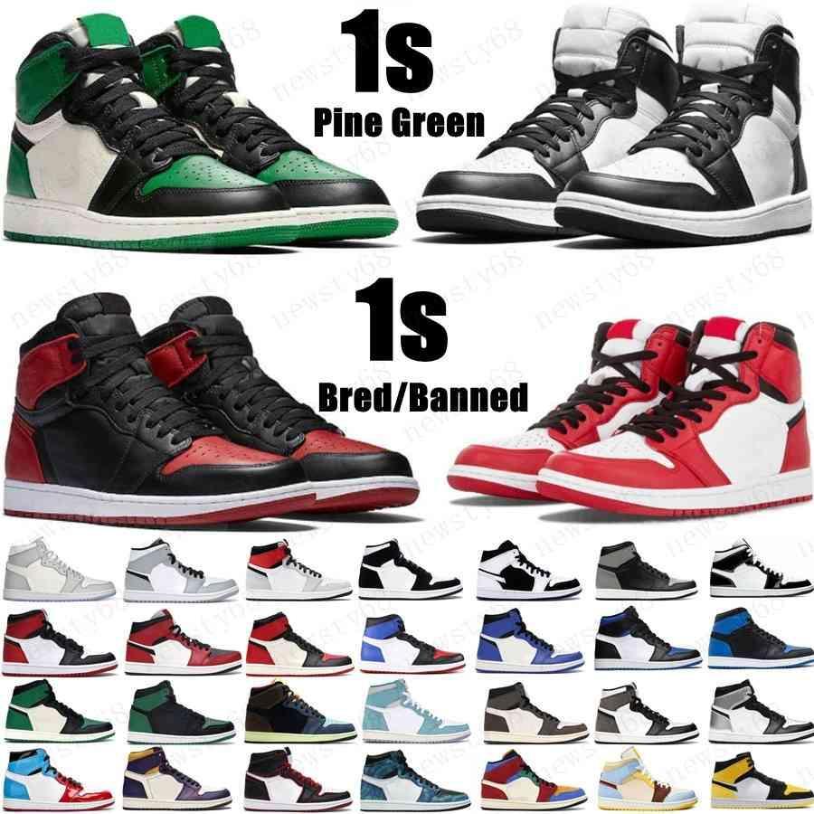Yeni 1 Yüksek OG Basketbol Ayakkabıları 1 S Kraliyet Siyah Toe Çam Yeşil Siyah Mahkemesi Mor Beyaz UNC Patent Erkek Kadın Stilist Sneakers Eğitmenler