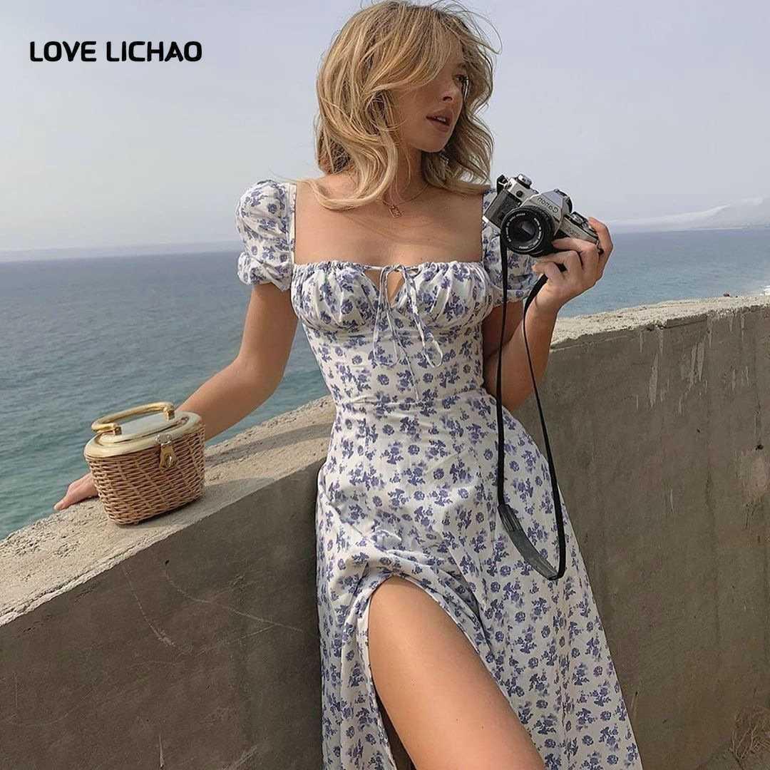 Dress Summer New Fashion White Elegant Ladies Backless Dresses Puff Sleeve Print Slit Long Dresses For Women Floral Dress 210608