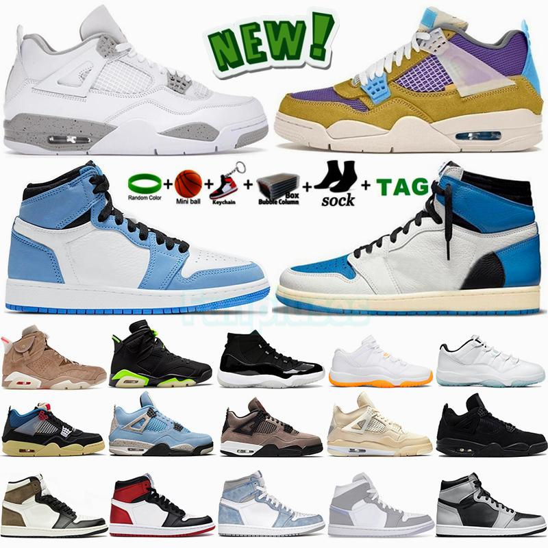 Jumpman 4 4s Erkek Ayakkabı Tech White Oreo Back Cat Sail Desert Moss 1 1s University Blue Mocha Hyper Royal 6 6s UNC 11 11s Basketbol Ayakkabıları Bayan Trainer Sneakers