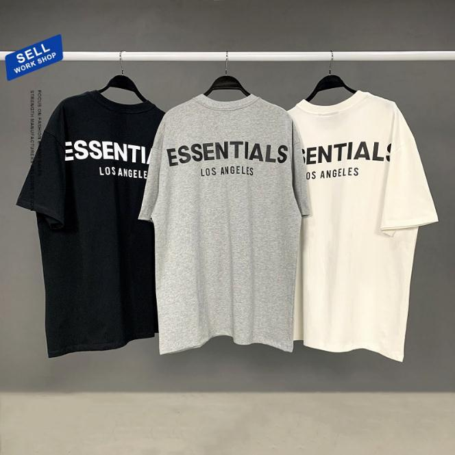 21ss Ins Essentials T Shirt Hip Hop Tanrı Tanrı Korkusu Büyük Boy Ön La 3D Silikon Tee Kaykay Tshirt Sis Erkek Kadın Kısa Kollu Casual Tops Polos