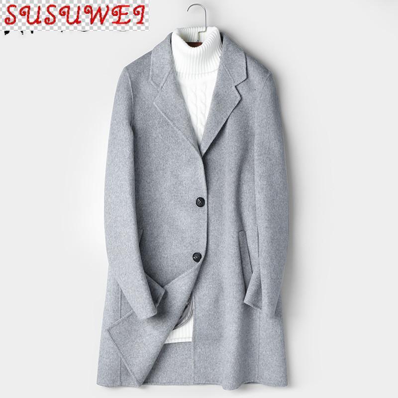 Doppelseitiger Wollmantel Männer Lange Jacke Koreanische Mantel Herrenmäntel und Jacken Casual Abrigo Hombre 81Z8803 KJ2433 Herrenmischungen