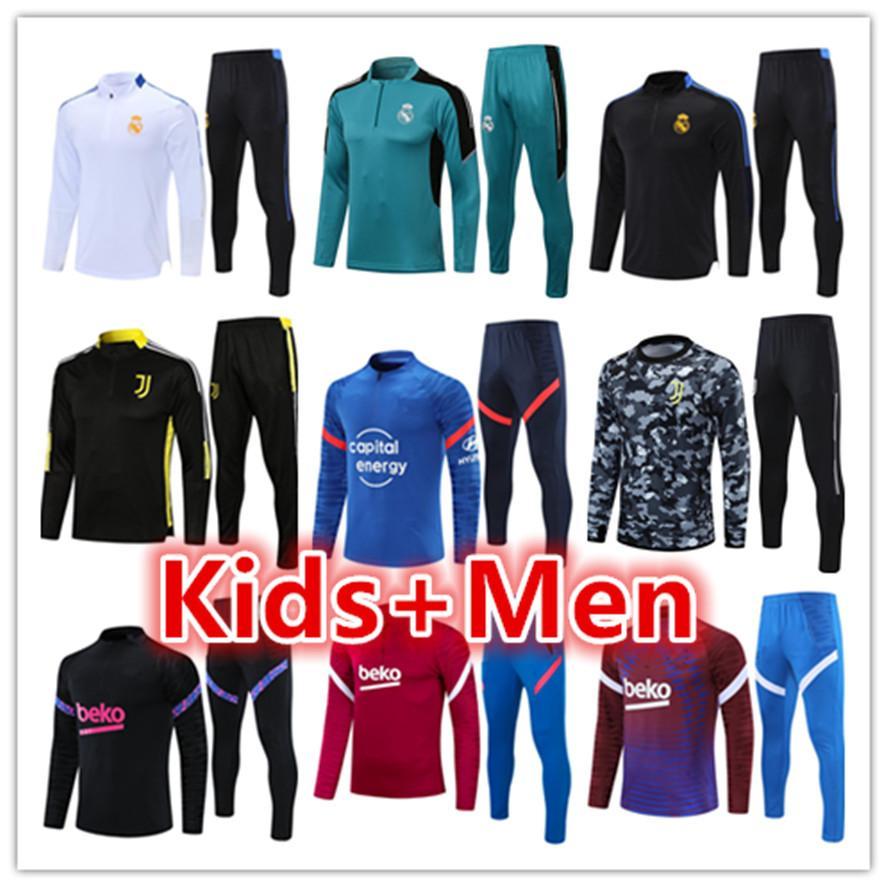 Real Madrid mens + kids tracksuits football training suit jerseys sets set 2021 2022 soccer tracksuit jacket jogging jersey kits survetement foot chandal futbol tuta